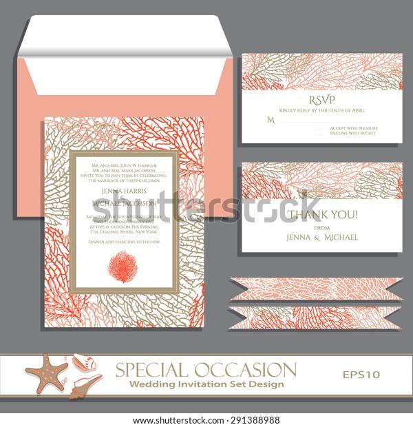 Wedding Invitation Card Set Design Invitation Stock Vector