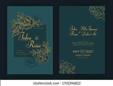 Wedding invitation card set with peony flowers and gold metal effect. Thank you, greeting, birthday, rsvp.