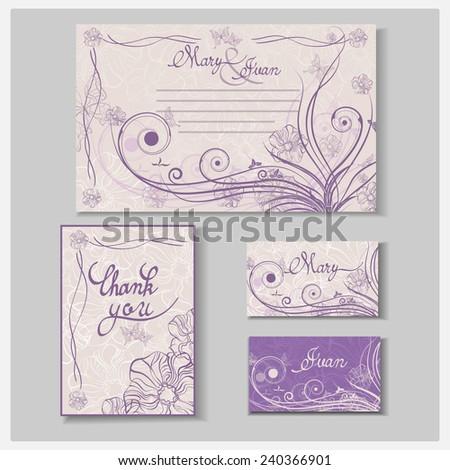 Wedding Invitation Card Set Thank You Stock Vector Royalty Free