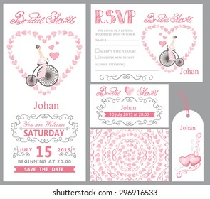 Wedding invitation card set.Bridal shower.Bride on retro bike,Watercolor Pink hearts, ribbons,grey swirling borders,frames decor,arrows,text. Tag,RSVP,Thank you,save the date.Cute artistic vector