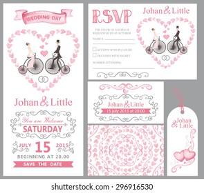 wedding invitation flourish decor set cartoon couple stock vector