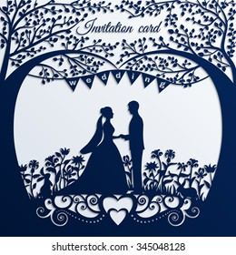 Wedding invitation card with silhouette bride and groom. Applique background. Vector illustration. EPS10.