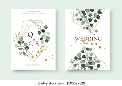 Wedding invitation card with silver dollar eucalyptus greenery leaves floral branches golden geometric triangular frame save the date design. Botanical mint green foliage plant vector illustration