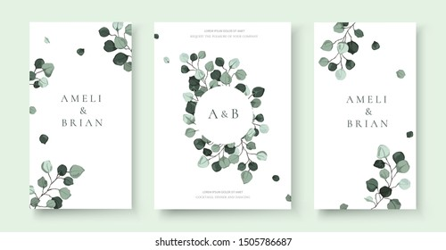 Wedding invitation card with silver dollar eucalyptus greenery leaves floral branches minimalist save the date design wreath and frame. Botanical mint green foliage plant rustic vector illustration