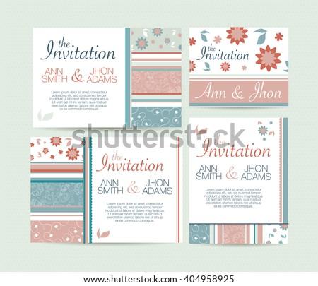 Wedding Invitation Card Suite Daisy Flower Stock Vektorgrafik