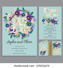 Wedding invitation card suite with flowers. Templates. Vector Illustration