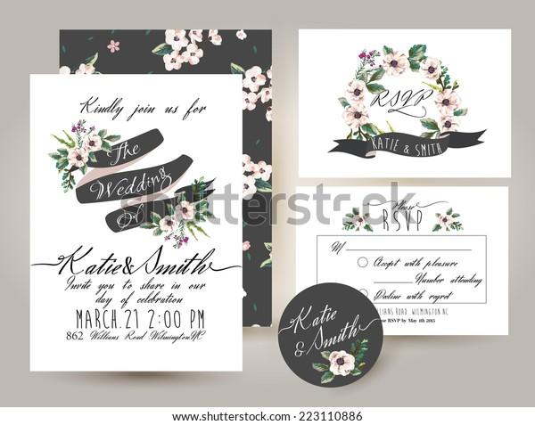 Wedding Invitation Card Suite Romantic Flower Stock Vector ...