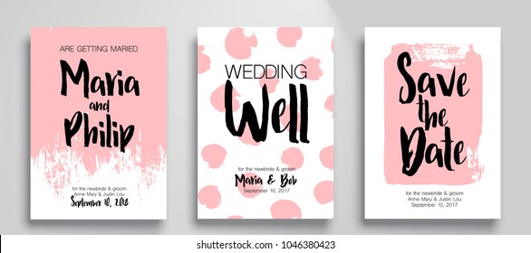 Wedding invitation card suite Templates.  Cool brushes backgrounds. Applicable for Banners, Placards, Posters, Flyers. Eps