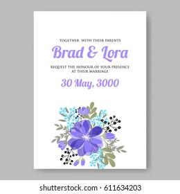 Invitation anniversaire stock illustrations images vectors wedding invitation card template blue anemone flower bouquet stopboris Images