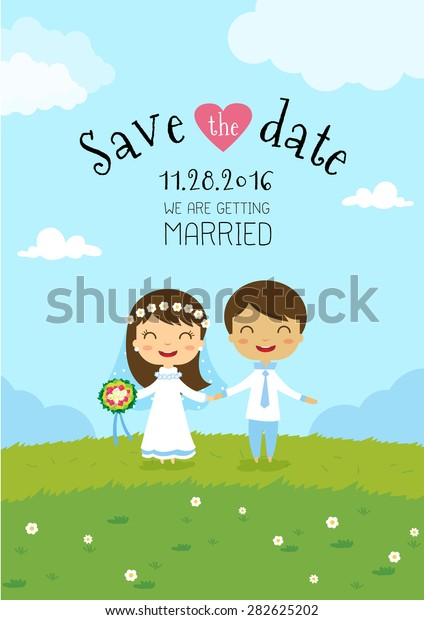 Wedding Invitation Card Template Cartoon Design Stock Vector