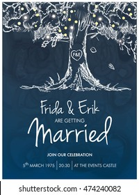 WEDDING INVITATION CARD TEMPLATE. Classic romantic style. Editable vector illustration file.