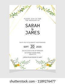 Save Date Wedding Invitation Card Template Stock Vector Royalty