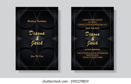 Wedding invitation card template cover design. Geometric pattern vector abstract background design elements.