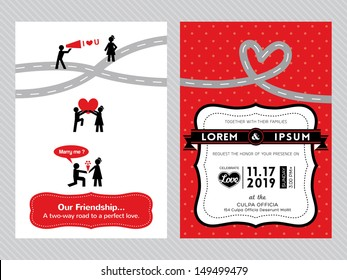 wedding invitation card template with cute groom and bride pictogram cartoon