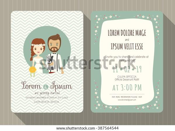 Wedding Invitation Card Template Cute Hipster Stock Vektorgrafik