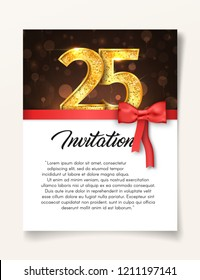 Wedding Invitation card template to the day of the twenty-five anniversary with abstract text vector illustration. Invite to 25 th years eve jubilee