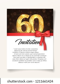 Wedding Invitation card template to the day of the sixty anniversary with abstract text vector illustration. Invite to 60 th years eve jubilee