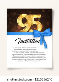 Wedding Invitation card template to the day of the ninety-five anniversary with abstract text vector illustration. Invite to 95 th years eve jubilee