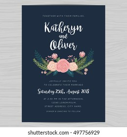 Engagement invitation images stock photos vectors shutterstock wedding invitation card template decorate with hand drawn flower in navy blue color background vector stopboris
