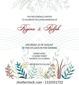 Wedding invitation. Card, template for the invitation. Delicate background of lines and flowers. Leaves, twigs, herbs.