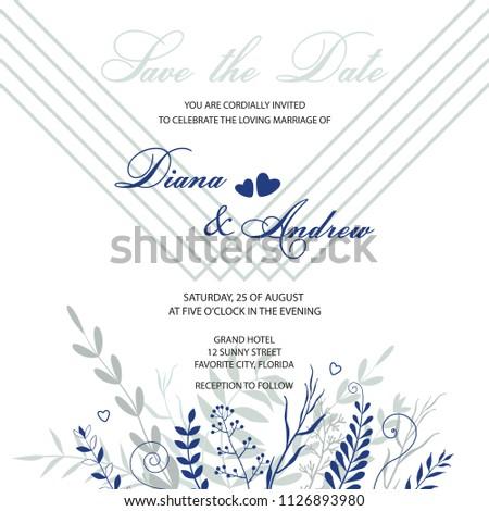 Wedding Invitation Card Template Invitation Delicate Stock Vector