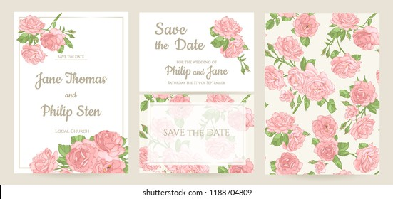 Wedding invitation card template design, bouquets of  roses and leaves, vintage style.  Set of card. Seamless pattern included.