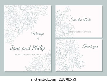 Greeting card template images stock photos vectors shutterstock wedding invitation card template design bouquets of peony and tulip vintage style card maxwellsz