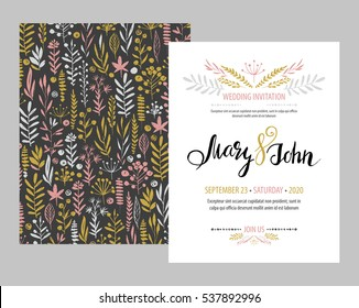 Wedding card design stock images royalty free images vectors wedding invitation card template design with branches and leaves hand drawn elements set stopboris Image collections