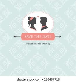 wedding invitation card template editable with wedding couple illustration and wedding background
