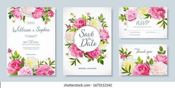 Wedding invitation card template. Floral design with blooming flowers of pink and light yellow peonies, lovely roses, buds, green leaves