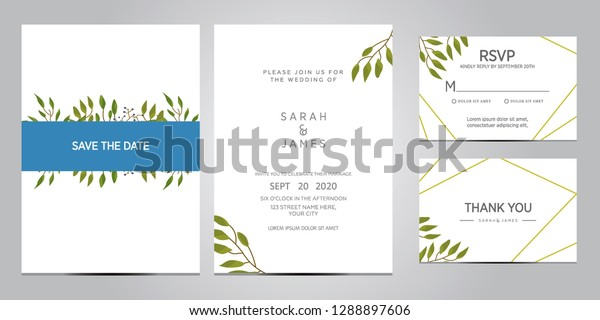 Wedding Invitation Card Template Floral Invite Stock Vector ...