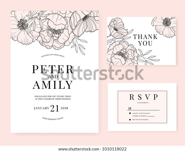 Wedding Invitation Card Template Flower Pink | Royalty-Free Stock ...