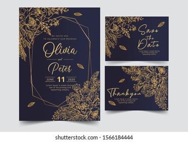 wedding invitation card template with golden flower floral background. Vector illustration.