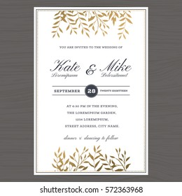 Wedding invitation card template with golden color flower floral background. Vector illustration.