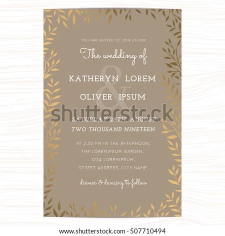 wedding invitation card template golden color のベクター画像素材