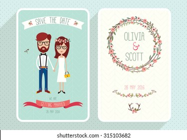 Hipster Wedding Invitation Images Stock Photos Vectors