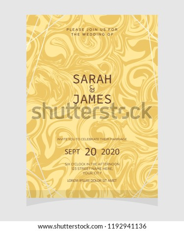 Wedding Invitation Card Template Marble Texture Stock Vector