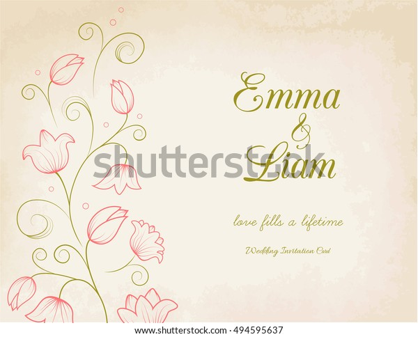 Wedding Invitation Card Template Pink Lily Stock Vector (Royalty ...