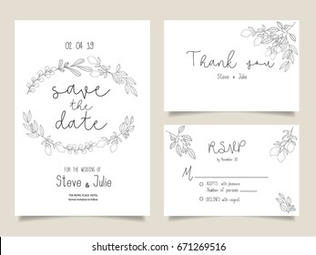 wedding invitation card template with text and flower