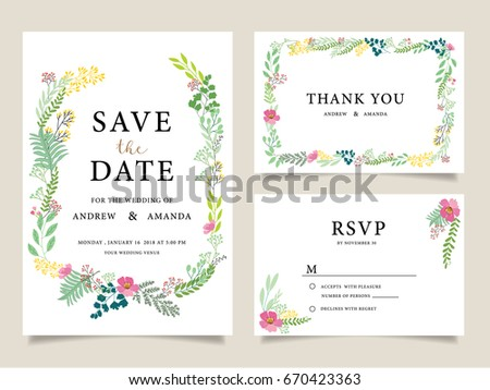 wedding invitation card template text のベクター画像素材