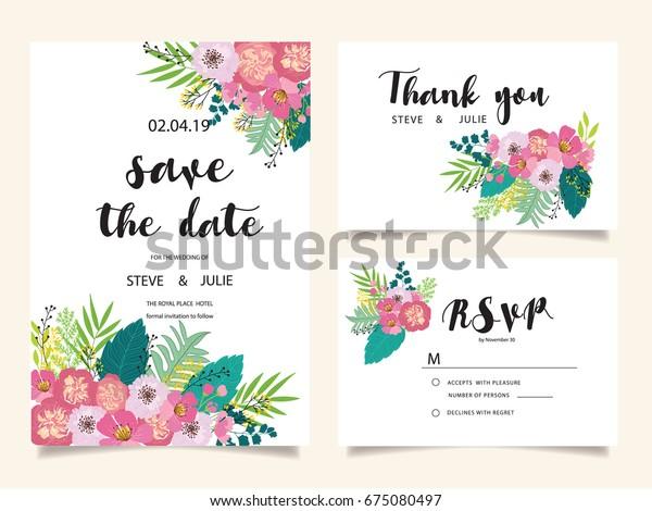 Wedding Invitation Card Template Text Wektorowa Ilustracja