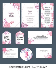 Wedding invitation card template. Wedding invitation, thank you, save the date, menu, information, RSVP, label, table number and place card design.