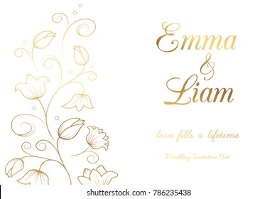 Wedding invitation card template. Tulip lily bell flowers. Gold on white background. Vector illustration.