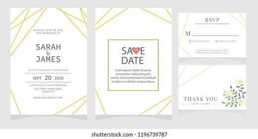 wedding invitation card template Vector illustration.