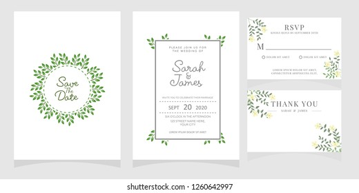 wedding invitation card template Vector illustration. Set of card with flower rose, leaves. Floral poster, invite. Wedding ornament concept.
