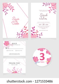 wedding invitation card template Vector illustration. Set of card with flower rose  leaves