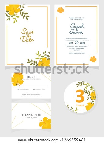 Wedding Invitation Card Template Vector Illustration Stock