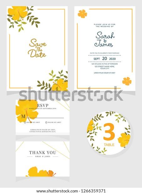 Wedding Invitation Card Template Vector Illustration Stock Vector ...