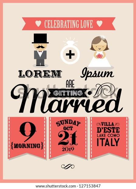 Wedding Invitation Card Template Vectorillustration Stock