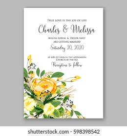 Wedding invitation card Template Yellow rose Floral  Printable Gold Bridal Shower Invitation Suite Boho Flower wreath